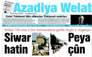 A front page of Kurdish language paper Azadiya Welat (Free Country)