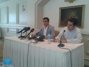 HDP candidate Selahattin Demirtas (left) during a press conference with foreign correspondents, 9 July 2014