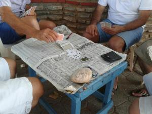 Men playing cards in Fethiye.