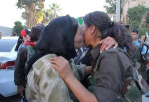 A mother says goodbye to her daughter, who decided to join the Kurdish forces YPG in Syrian Kurdistan (Rojava).