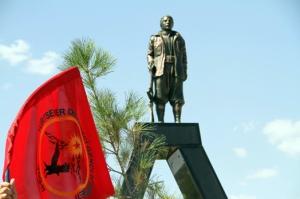 The Mahsum Korkmaz statue at the PKK graveyard in Lice district, erected 15 August 2014.