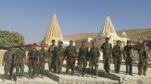 PKK and YPG troops protect sacred Yezidi site in Lalish, Iraqi Kurdistan.