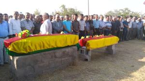 Coffins with Kurdish flags. These two young men were victims of Suruc massacre, 20 July 2015.